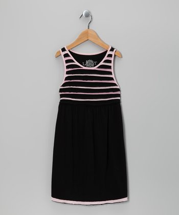 Black & Pink Stripe Dress - Girls