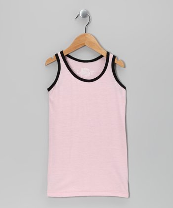 Pink & Black Basic Tank - Girls