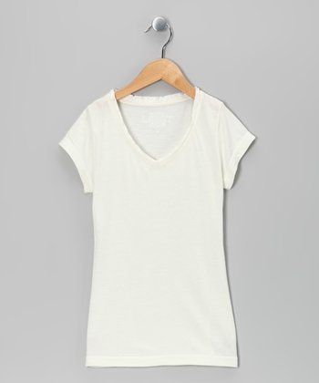 White Satin Short-Sleeve V-Neck Tee - Girls