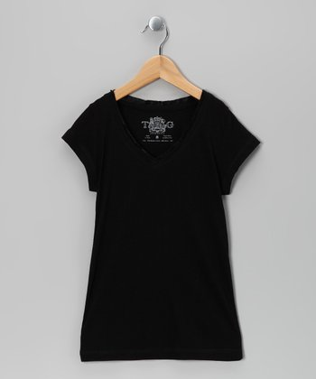 Black Satin Short-Sleeve V-Neck Tee