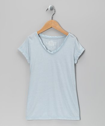 Pearl Blue Satin Short-Sleeve V-Neck Tee - Girls