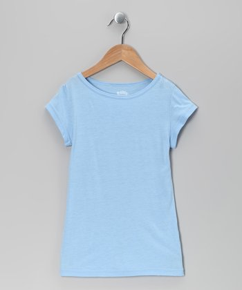 Cerulean Cap-Sleeve Tee - Girls