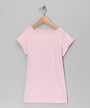 Pink Cap-Sleeve Tee - Girls