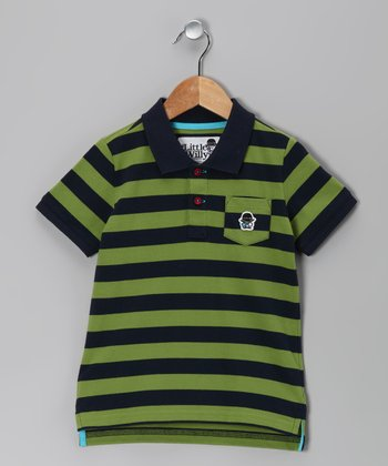 Navy & Mossy Green Stripe Polo - Toddler & Boys