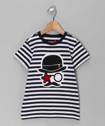 Navy & White Stripe Logo Tee - Toddler & Boys