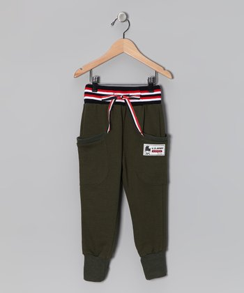 Green 'Army' Sweatpants - Infant, Toddler & Boys