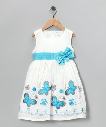 Aqua Embroidered Butterfly Dress - Toddler & Girls