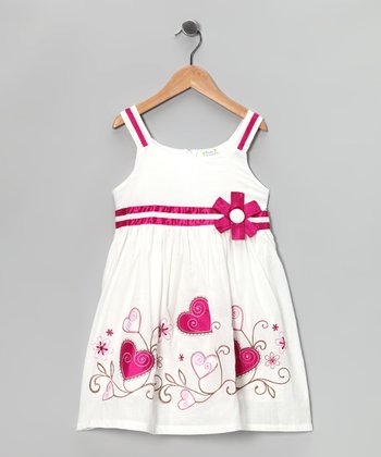 White & Pink Embroidered Heart Dress - Toddler & Girls