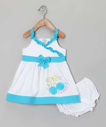 Aqua Cherry Dress & Diaper Cover - Infant