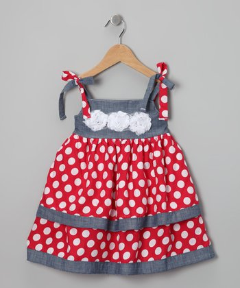 Red Polka Dot Babydoll Dress - Girls