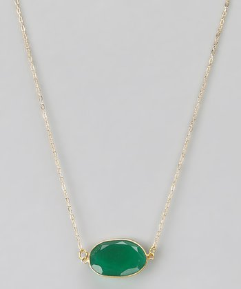 Green Onyx Oval Pendant Necklace