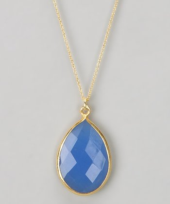 Blue Chalcedony Pear Pendant Necklace