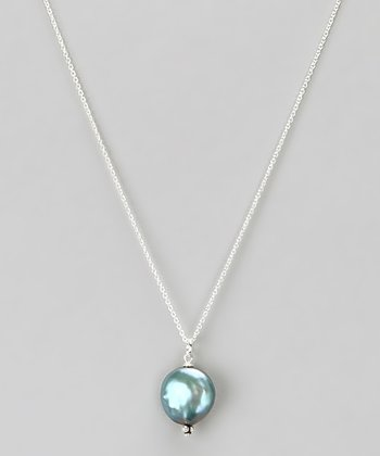 Gray Sterling Silver & Freshwater Pearl Pendant Necklace