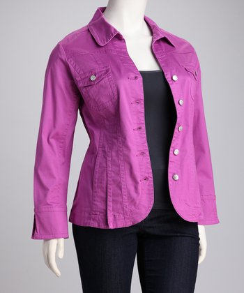 Viola Petal Pleated Plus-Size Jacket