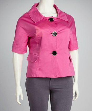 Hibiscus Portrait-Collar Jacket - Plus