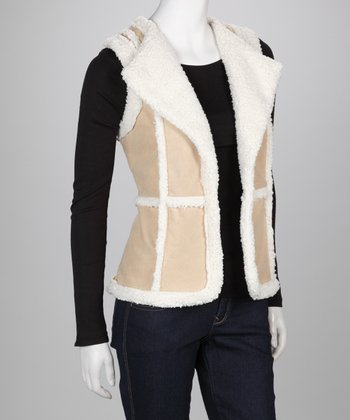 Natural Faux Shearling Vest - Women