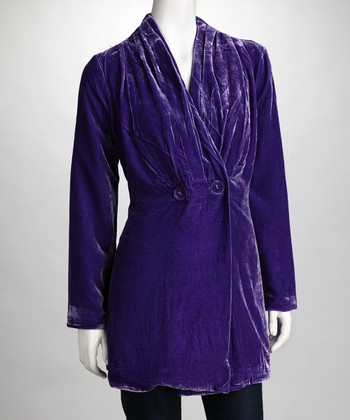 Purple Velvet Long-Sleeve Jacket