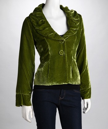 Green Ruched Collar Jacket