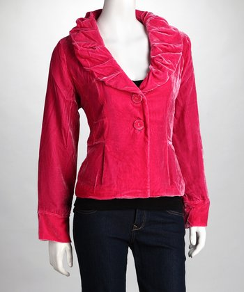 Pink Ruched Collar Jacket
