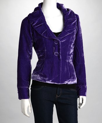 Purple Ruched Collar Jacket