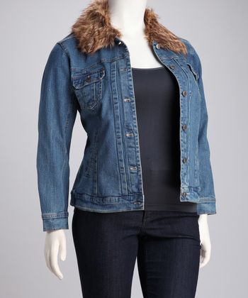 Medium Stone Faux Fur Trim Plus-Size Denim Jacket