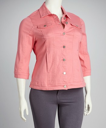 Coral Denim Three-Quarter Sleeve Jacket - Plus