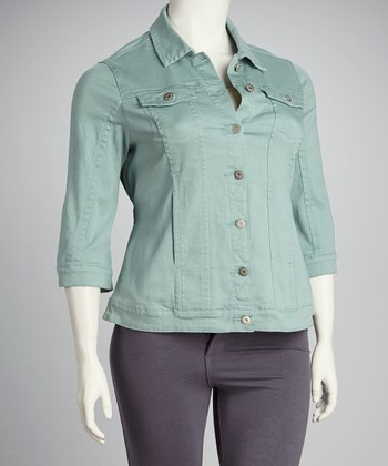 Seafoam Denim Three-Quarter Sleeve Jacket - Plus