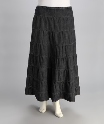 Sailor Bleach Denim Peasant Skirt - Plus