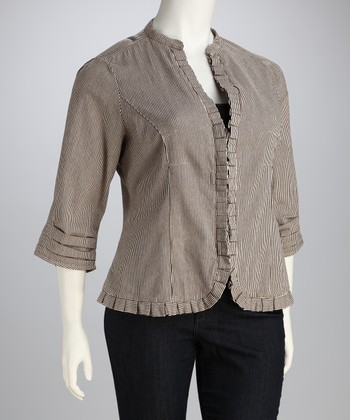 Brown & Natural Pleated Jacket - Plus