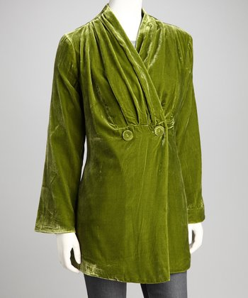 Green Velvet Long-Sleeve Jacket
