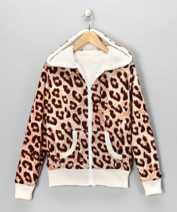 Cream Cheetah Faux Fur Reversible Hoodie - Girls