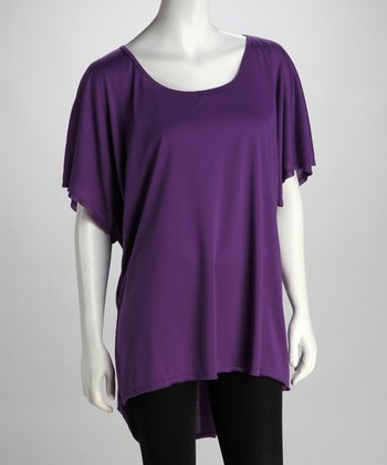 Lizzie Parker Blue Label Bright Violet Plus-Size Keyhole Tunic