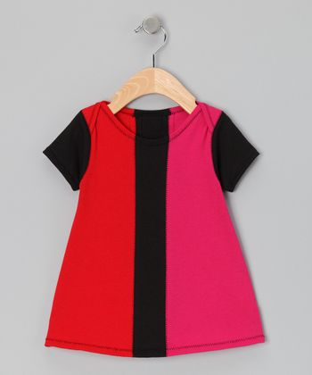 Red & Pink Color Block Dress - Infant