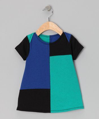 Blue & Teal Color Block Dress - Infant