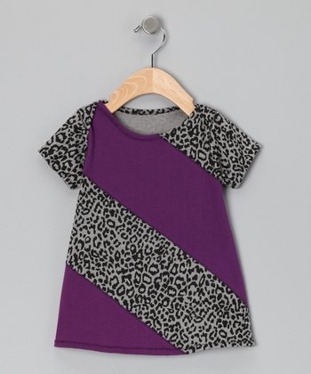 Purple & Leopard Color Block Dress - Infant
