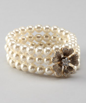Antique Gold & Pearl Flower Stretch Bracelet