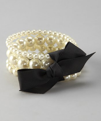 Pearl & Black Bow Stretch Bracelet Set