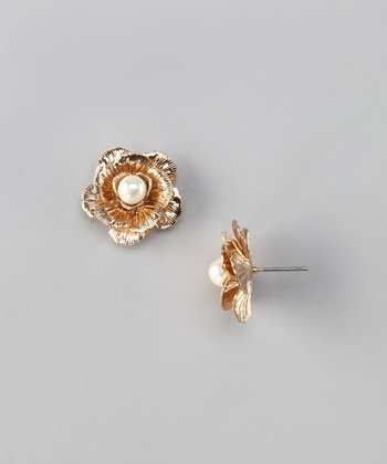 Vintage Gold & Pearl Flower Stud Earrings