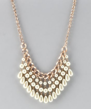 Vintage Gold & Pearl Bib Necklace