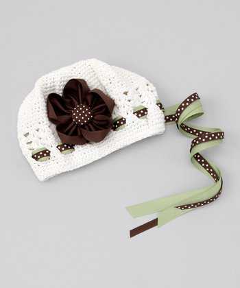 White & Brown Flower Beanie