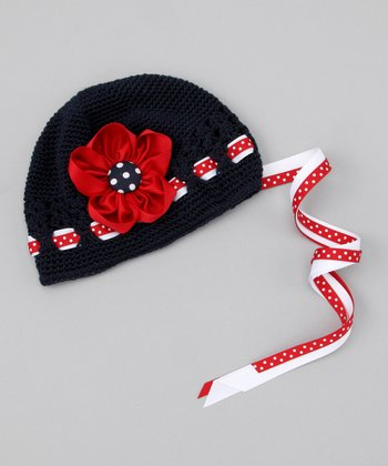 Navy & Red Flower Beanie