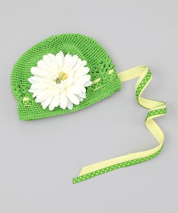 Green & White Flower Beanie