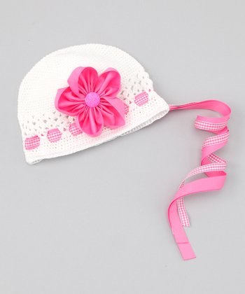 White & Hot Pink Flower Beanie