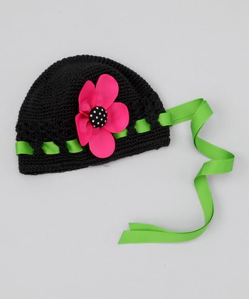 Black & Hot Pink Flower Beanie