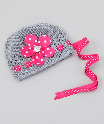 Gray & Bright Pink Flower Beanie