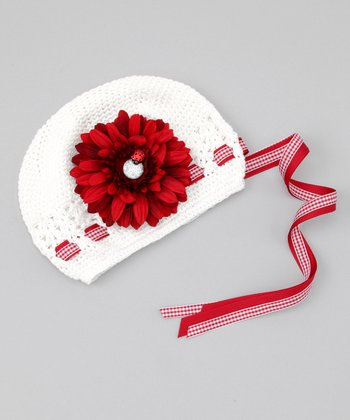 White & Red Gerbera Flower Beanie