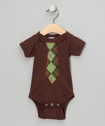Brown Argyle Tie Bodysuit - Infant