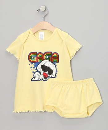 Yellow 'Gaga' Dress & Diaper Cover - Infant