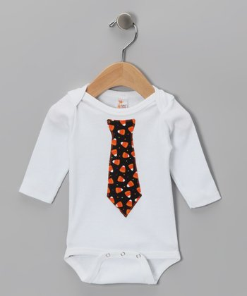 White Tie Long-Sleeve Bodysuit - Infant