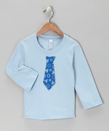 Light Blue Hanukkah Tie Tee - Toddler